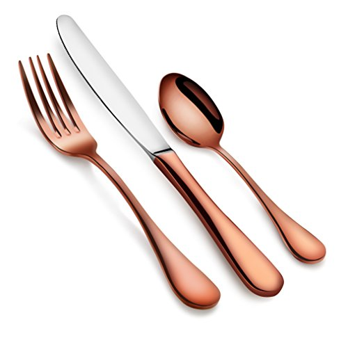 Artaste 56419 Rain 18/10 Stainless Steel Flatware 36 Piece Set, Antique Copper Finished, Service for 12