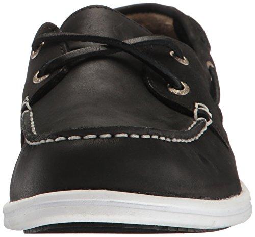Sebago Mens Liteside Two Eye Boat Shoe Black Leather