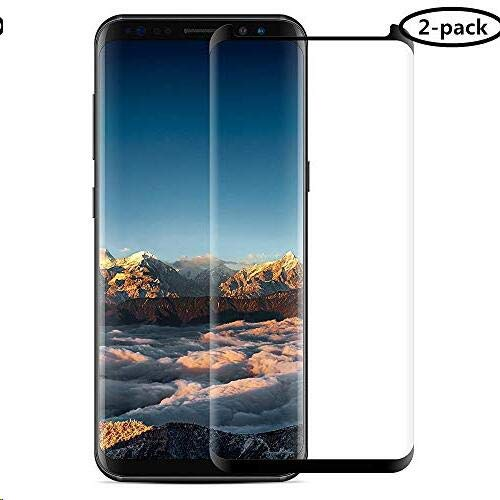 【2-Pack】 3D Curved Dot Matrix Full Screen Compatible Samsung Galaxy S8 Tempered Glass Screen Protector (5.8) 2017 Easy Application Tray (NOT S8 Plus) (Case Friendly) (2 Packs)