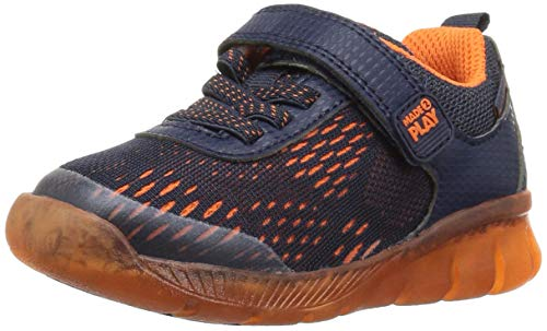 Stride Rite Boys' Made 2 Play Lighted Neo Sneaker, Navy/Orange, 6 M US Toddler