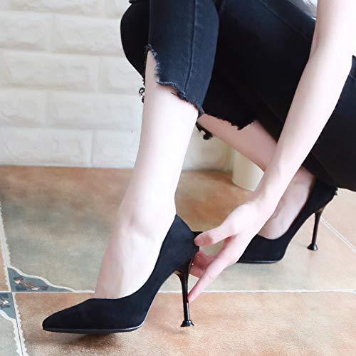 KPHY Damenschuhe/Herbst Wildleder Spitze Damenschuhe Damenschuhe Damenschuhe Gut Bei Fuß 9Cm Hochhackigen Schuhe Mode Fliege Flache Schuhe.35 Schwarz - 5f90d4