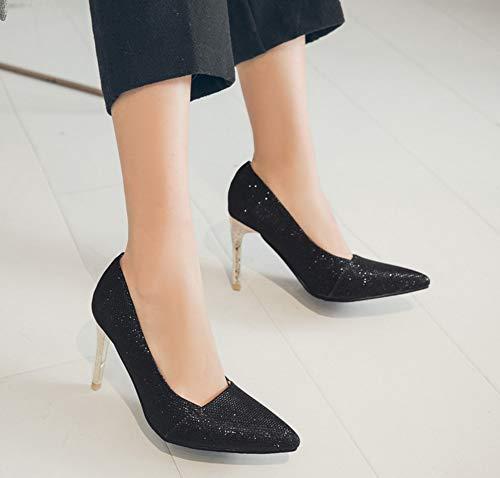 Aisun Paillettes Femme Escarpins Basse Bling Mode Noir Bout Pointu FCSwFqv