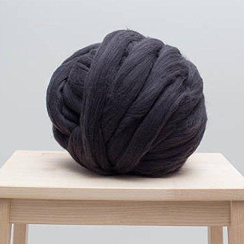 3inch Stitch Big Giant Wool Yarn Super Chunky Yarn,Big 2kg-4.4lbs Wool Yarn Bulky Yarn Dark Grey Roving Wool for Chunky Blanket Scarf DIY (Dark Grey, 2kg-4.4lbs) by Popular Knit Chunky Blanket