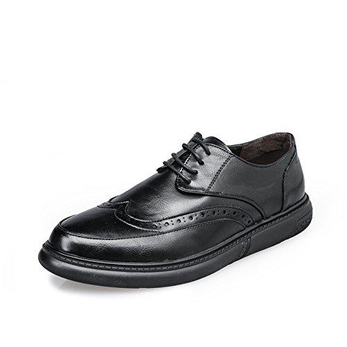 Bloc de Chaussures en Cuir pour Hommes Sculpté Vintage Formel Mode Respirant Chaussures de Sport Noir MWUtcriaYu