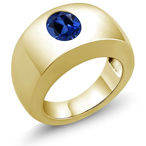 2.30 Ct Oval Blue VS Simulated Sapphire 18K Yellow Gold Men's Solitaire Ring