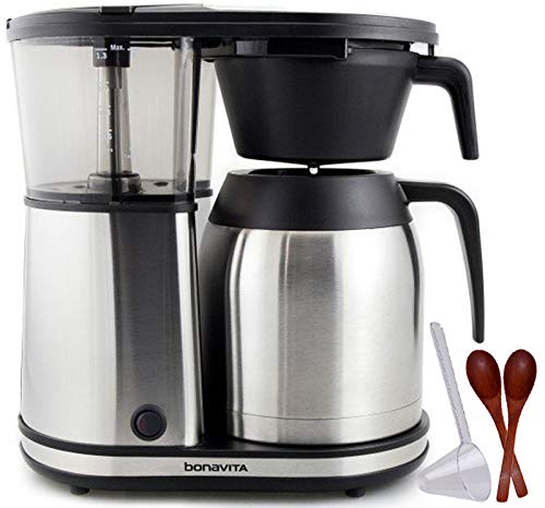 Bonavita Connoisseur 8-Cup One-Touch Coffee Maker Featuring Hanging Filter Basket and Thermal Carafe, BV1901TS w/Two Small Wooden Stirring Spoons & One-Tablespoon Plastic Scoop (Bundle)