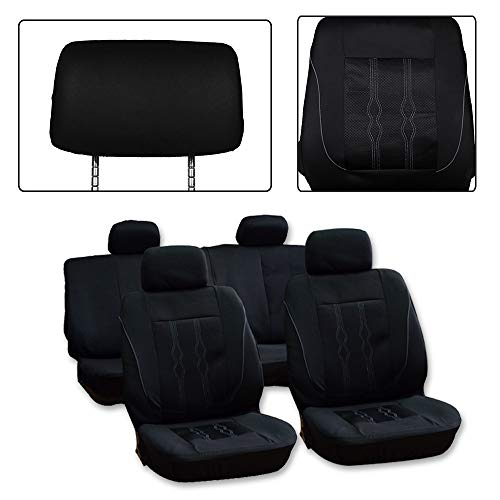 ck Car Seat Cover W/Headrest 9PCS Breathable Polyester/Mesh Retractable Auto Seat Cover Replacement for Most Cars ()