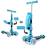 Hikole 2-in-1 Scooter for Kids with Folding Seats & Height Adjustable & Folding Scooters - 3 Lighting Wheels Kick Scooter for Girls...