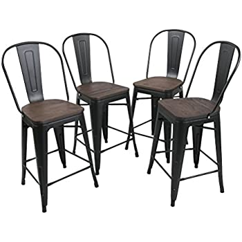 Amazon Com Tongli Metal Barstools Chairs Set Industrial