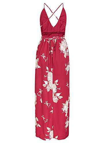 Women's Red 1 Beach Boho Split Backless BerryGo Maxi Sexy Dress Dress Floral 7SROOqx