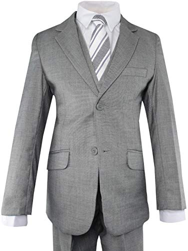Luca Gabriel Toddler Boys' 5 Piece Slim Fit Grey Formal Dress Suit Set with Tie and Vest - Size 6