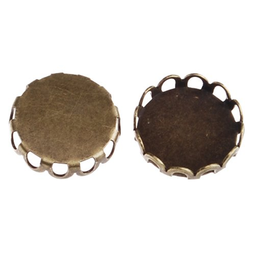 50pcs/lot Antique Bronze Lace Edge Copper Base, Tie Tac Clutch with 12mm Round Bezel Cup