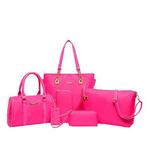 chain Key Tote Red 6 Njrose Set Bag Solid Kairuun Piece Women Waterproof Purse Color Clutch Handbag Nylon HTg8q