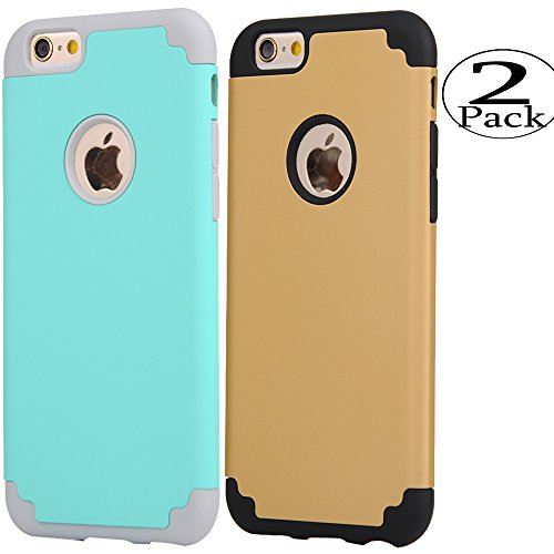 iPhone 6/6s Case,[2 Pack] iBarbe slim fit Rubber PC Shockproof Heavy Duty Protection Case with soft Inner Protection Reinforced Hard Bumper for Apple iPhone 6 6s (4.7 inch) phone-tear+gold