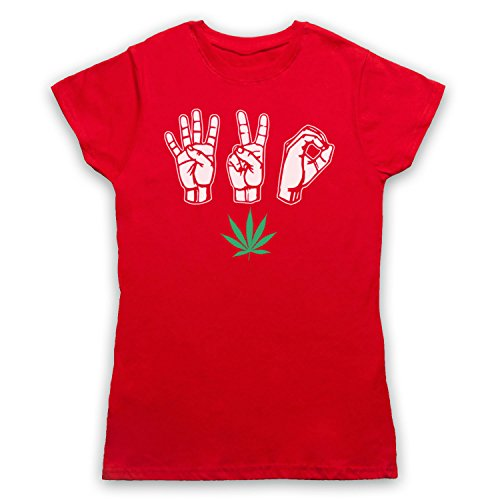 420 Cannabis Leaf Weed Pot Culture Fingers Camiseta para Mujer, Rojo, Small