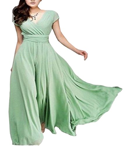 Color Dress Sleeve Swing V Light Party Evening Jaycargogo Green Short Pure Neck Womens qvpES