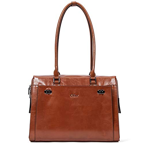 Womens Briefcase Oil Wax Genuine Leather 15.6 Inch Laptop Business Vintage Ladies Shoulder Bag Brown