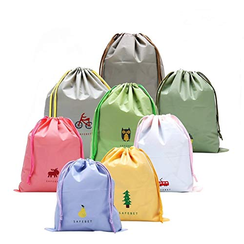 - 8 PCS Packing Organiser Drawstring Bags for Travel, Luggage Bag Toiletry Pouch