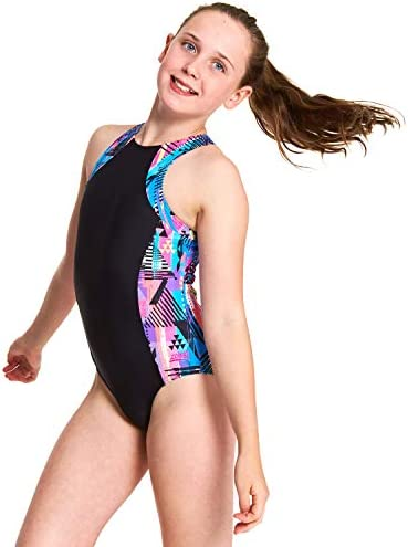 Zoggs Girl's Labrynth Retro Suit One Piece Swimsuit: Amazon
