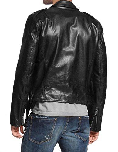 Cappotto Giacca Biker Slim Pelle Black Auk087 Giacche Outwear Moto Da In Uomo Fit rwxq1RwSY