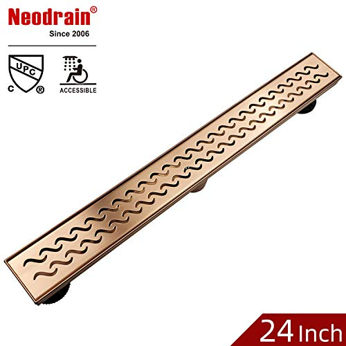 Neodrain 24 Inch Brushed Copper Rectangular Linear Shower Drain with Grate, Brushed copper 304 Stainless Steel Bathroom Floor Drain,Shower Floor Drain ()