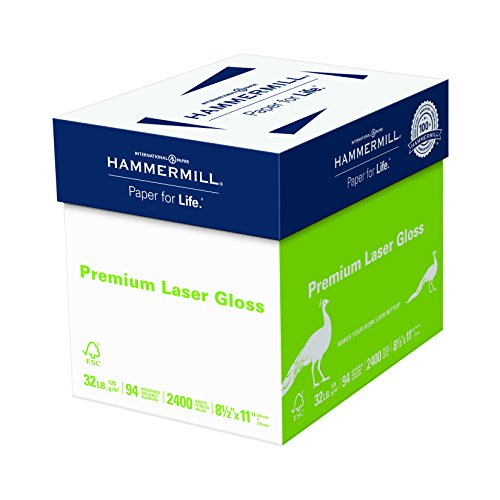 - Hammermill Paper, Color Laser Gloss Poly Wrap, 32lb, 8.5 x 11, Letter, 94 Bright, 2,400 Sheets / 8 Ream Case(163110C), Made in the USA