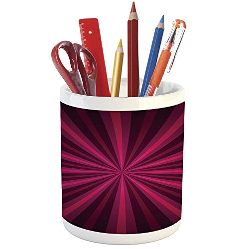 Pencil Pen Holder,Hot Pink,Printed Ceramic Pencil Pen Holder for Desk Office Accessory,Abstract Starburst Design Radial Lines Vibrant Colored Beams Futuristic -