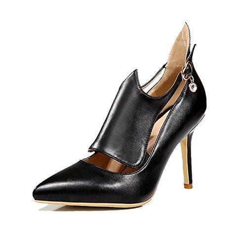 Tirahse Comfortable Women's Pointed Closed Toe Buckle Pu Solid Spikes Stilettos Pumps-Shoes, Black, - K Black Agent Men In