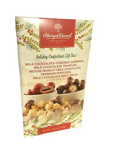 Harry & David Holiday Confections Gift Box, Milk Chocolate Covered Cherries, Milk Chocolate Truffles, Moose Munch Premium Popcorn, Chocolate Malt Balls, Net Wt 1 lb 3 ()