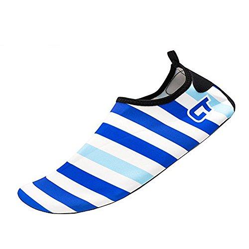 JACKSHIBO Männer Frauen und Kinder Quick-Dry Wasser Haut Schuhe Aqua Socken Für Wassersport Schwimmen Surf Yoga Exercise Beach Streifen-himmelblau