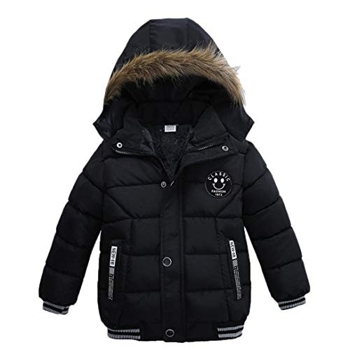 Kehen Kids Toddler Boy Girl Winter Fur Hooded Trench Coat Warm Down Jacket Thick Outerwear (Black, 2T) by Kehen (Image #5)