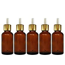 Elisona®5 PCS Portable Travel 5ML Dark Brown Empty Refillable Glass Bottles Essential Oil Perfume Liquid Lotion Containers Bottles with White Head Droppers