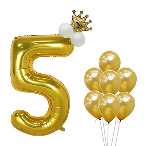 BALONAR 40inch 5th Gold Number Balloon Mini Crown Balloon 5inch White Latex Balloon Decorations Birthday Crown Decorations 12inch Gold Latex Balloons Customize Number Balloon (Number5)]()