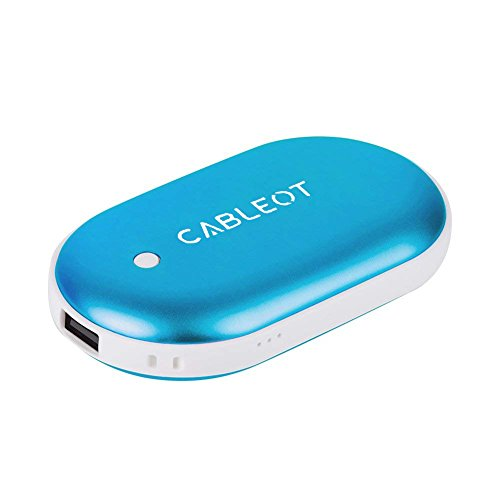 CABLEOT Power Bank Hand Warmer, Rechargeable Double-Sided Hand Warmer 5200mAH Power Bank Portable Pocket Hand Heater USB Mobile External Back up Battery Charger (Blue)
