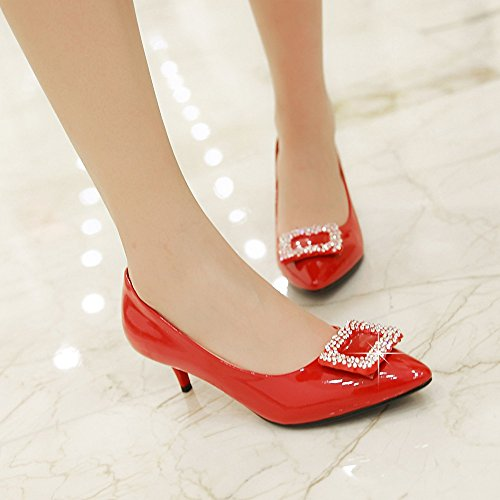 MINIVOG Womens Pump Shoes High Heeled Red 7FNvOPzW