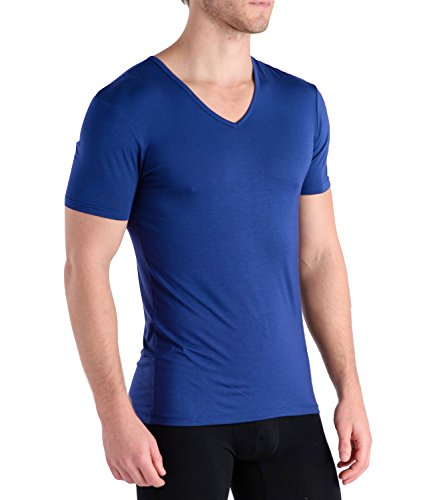 Men Comfortable Cotton Shirt (Comfortable Club Men's Modal Slimfit T-Shirt / Undershirt V-Neck (Large, Monaco Blue))