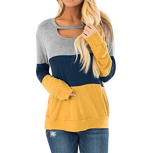 AOJIAN Blouse Women Long Sleeve T Shirt Hollow Out Color Block Tunic Tank Shirts Tops ()