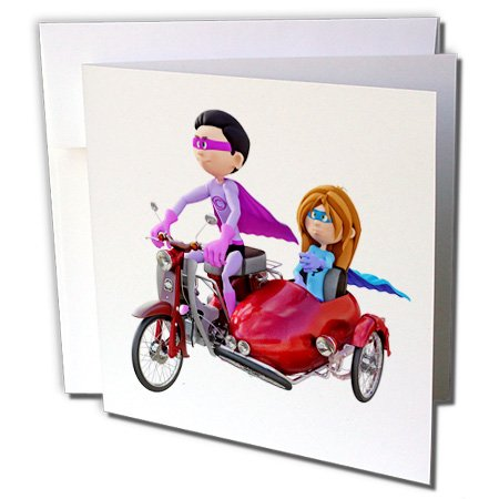 Superhero Duos (Boehm Graphics Cartoon - A Cartoon Superhero Duo Riding a Scooter with a Sidecar - 6 Greeting Cards with envelopes)
