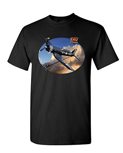 Chance Vought F4U Corsair T-Shirt American Fighter Aircraft WW2 Mens Tee Shirt Black 2XL