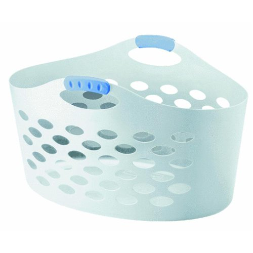 Rubbermaid Home 260100-WHT Flex 'N Carry Laundry Basket - Flexible Plastic Basket