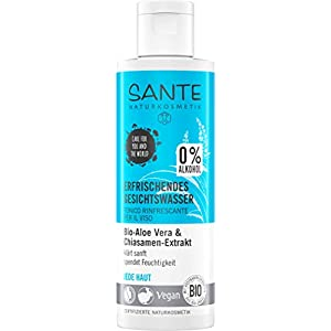 Sante Naturkosmetik Eau rafraîchissante pour le visage Sans alcool, Aloe Bio, Toute peau, Hydratation, Végan, 1 x 125 ml