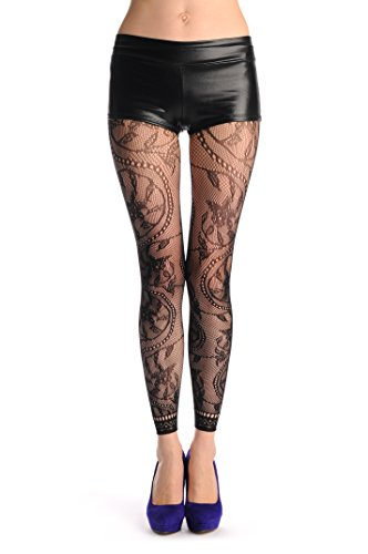 Rounded Pearl Flowers With Lace Trim Footless Fishnet – Black Fishnet Floral Opaque Tights Footless