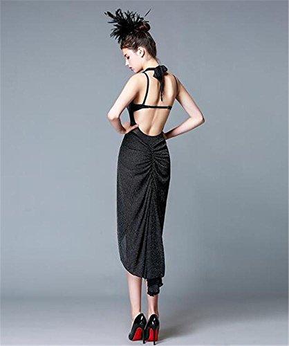 vestido danza la Baile l black Backless vestido mujer de del funcionamiento de latino etapa de la demostración la qqwS61fv
