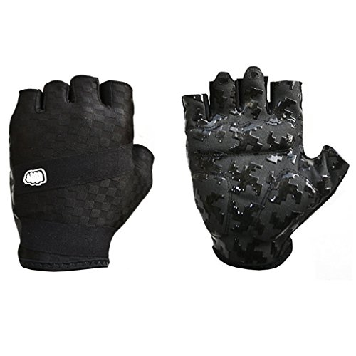 fengus Lycra Breathable Outdoor Sports Gloves Racing Cycling Motorcycle Motorbike Bike Half Finger Fingerless Gloves --- black - L
