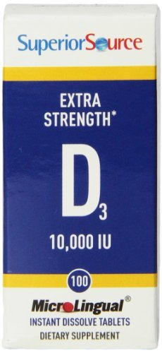 Superior Source Extra Strength Vitamin D3 10000iu (10,000iu, 100 Instant Dissolve Micro Tablets) by Superior ()