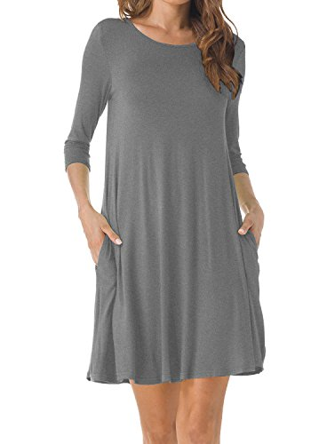 - TINYHI Women's O-Neck 3/4 Sleeves Tunic Pocket Loose Casual Swing Tshirt Dress(Gray,Large)