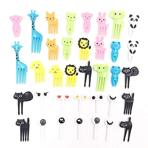 Euone  Fruit Forks, 36Pcs Lovely Animal Food Fruit Forks Decor Animal Mini Cartoon Toothpick Lunch Decor]()