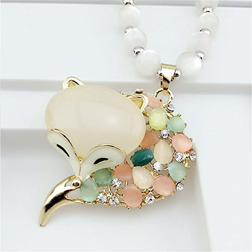 TBW Women's New Sweater Chain Crystal Opal Peacock Necklace Sweater Long Chain (colorful Fox) Crystal Weave Bracelet
