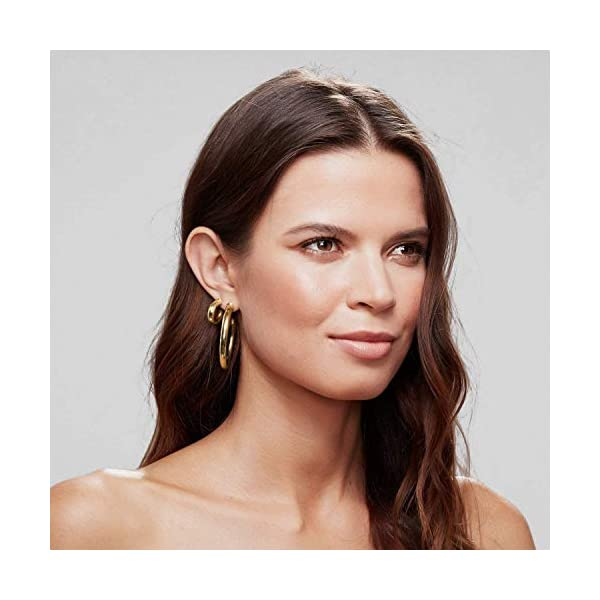 14K Gold Colored Lightweight Chunky Open Hoops