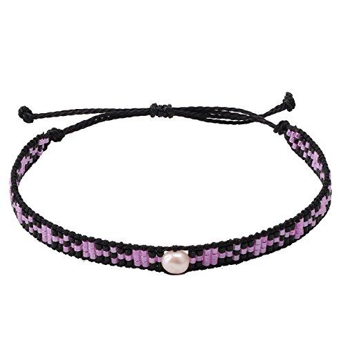 KELITCH Pearl Sead Beaded Wax Rope Charm Wrap Bracelets Handmade Friendship New Women Jewelry (Purple)